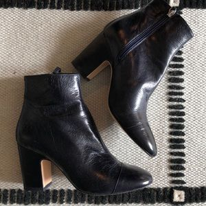 Zara navy leather booties